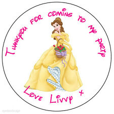 Personalised Princess Belle Disney Happy Birthday Stickers Thank You Seals-N209