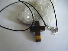 Spiritual Healing Tiger's Eye Cross Necklace Protective Earth Sun Energies Vegan