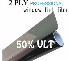 "50% VLT Black Car Window Tint Film Pro Dyed 20"" x 25' Roll UV Protection"