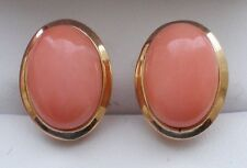 14K Yellow Gold Bezel Set Angel Baby Skin Pink Coral Omega Back EARRINGS 5.4
