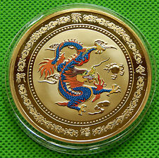 Beautiful color auspicious Chinese New Year dragon coin - fine-60mm