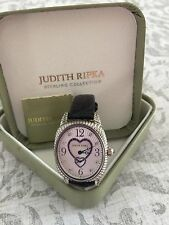 JUDITH RIPKA STERLING SILVER DIAMONIQUE MOTHER OF PEARL WATCH