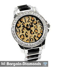ladies leopard cheetah fashion dress silver watch gold-sand dial link bracelet