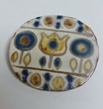 Vintage danish Ceramic Pin Brooch Made By Karin Og Aase