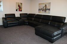 ELIXIR 6 PIECE ELECTRIC RECLINER RHF CHAISE END CORNER SUITE IN BLACK LEATHER