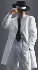 36 S Mens White Long Tuxedo Jacket Frock Gangster Steampunk Zoot Suit Formal Tux