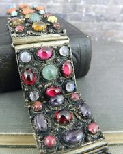 Wide Sterling Silver Multi Color Stone Panel Bracelet