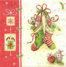 4 Single Paper Napkins for Decoupage X-mas Stockings Christmas Gifts