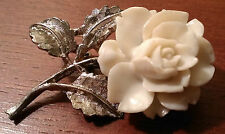 VINTAGE SIGNED AJC WHITE ROSE CARVED PLASTIC FLOWER SILVER-TONE BROOCH / PIN