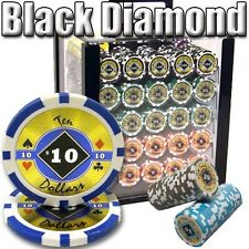 New 1000 Black Diamond 14g Clay Poker Chips Set with Acrylic Case - Pick Chips!