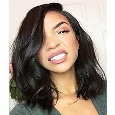 8a Brazilian Virgin Human Hair Lace Front Wig Glueless Short Bob Wavy with Baby