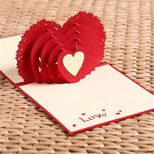 Red Unique Design 3D Heart Cut Wedding Invitation Christmas Gift Xmas Cards  SP