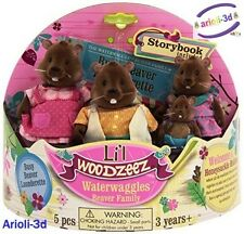 LI'L WOODZEEZ WATERWAGGLES BEAVERS FAMILY 4 FIGURINES FIT CALICO TOYS NEW CASTOR