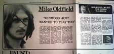 MIKE OLDFIELD Tubular Bells concert 1973 UK ARTICLE / clipping
