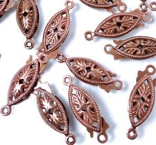 25 Antique Copper Fish Hook Clasps Filigree Horse Eye Oval Fishhook 20x6mm