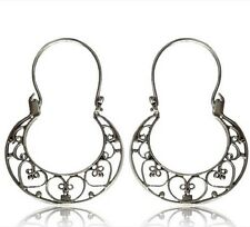 PAIR REAL TRIBAL STERLING SILVER EARRINGS HANGING AFGHAN HOOPS AFGHAN STYLE