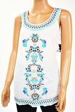 New Style&Co. Women White Sleeveless Embroidery Peasant Tunic Blouse Top Size M