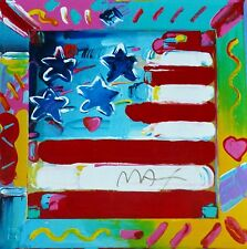 """PETER MAX """"Flag"""" HAND SIGNED SERIGRAPH 1994"""