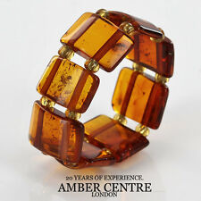 Opaque Dark Fiery Orange BALTIC AMBER Elastic Ring RB040- RRP £35