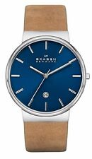 NWT NEW Skagen SKW6103 Men's Ancher Tan Leather Band Blue Dial Analog Watch
