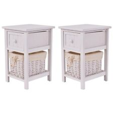Set of 2 Night Stand 2 Layer 1 Drawer Bedside End Table Organizer Wood W/Basket