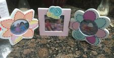 SET of 3 Pink Girls Flower Purple Picture Frames - Shabby Chic Babies R Us