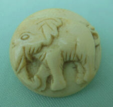 Victorian Antique Hand Carved Large Circular Button - Elephant - Cameo 19th C,
