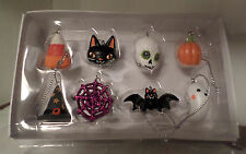 8 HALLOWEEN ORNAMENTS TREE DECOR CRAFT CANDY CAT GHOST BAT SKULL WEB HAT PUMPKIN