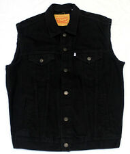 #4491 LEVIS BLACK DENIM COTTON TRUCKER JEAN VEST JACKET MENS MEDIUM