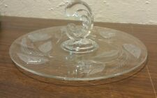 Vintage Beautiful Clear Glass Centered Handle Plate Tray w Floral Design L@@K!