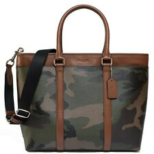 $550 NWT Coach Perry Business Tote in Printed Coated Canvas 55137 SV/Green Camo