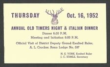 1952 P C RENO NV ELKS CLUB ANNUAL OLD TIMER DAY & ITALIAN DINNER, POSTED