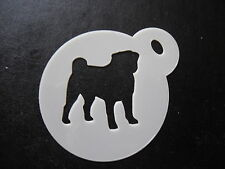 Laser cut small pug design cake, cookie,craft & face painting stencil