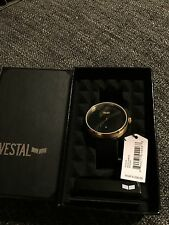NWT Vestal ROS3L007 Roosevelt Watch Gold Black Leather $200 Retail