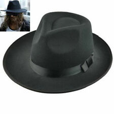 PVintage Men Women Hard Felt Hat Wide Brim Fedora Trilby Panama Hat Gangster Cap