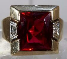 Antique Mens Ruby & Diamond Ring Art Deco Ring Size 6.75