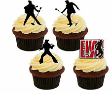 Elvis Silhouettes Edible Cupcake Toppers - Stand-up Fairy Cake Decorations