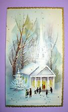 4 VINTAGE CHRISTMAS EMBOSSED VILLAGE CHURCH W/ PEOPLE UNUSED GREETING CARDS ENVE
