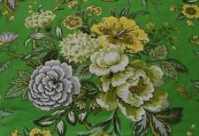 Vintage 70s Upholstery Fabric Green Floral Peonies Yellow 3 Yards Confab Curtain