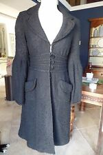 NANETTE LEPORE Black Nubb Tweed Bell Sleeve 3/4 Lenght Jacket Coat M