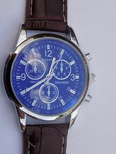 Mens Quartz Analog sports/army watch stainless steel with leather strap