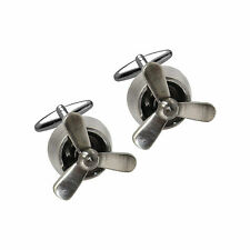 Men's Gents Metal Alloy Stylish Novelty Cufflinks - Spinning Aeroplane Propeller
