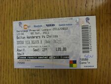 02/10/2011 Ticket: Bolton Wanderers v Chelsea  (folded). Thanks for viewing this