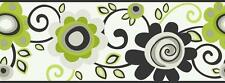 Wallpaper Border Mod Modern Retro Floral Scroll Flowers Lime Green Silver Black