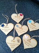 Wedding, Bridesmaid, Thank You Wooden Heart Gift Tag ANY OCCASION