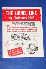 1945 TRAIN CATALOG INSERT for Greenberg's LIONEL CATALOGS Vol 4, O 027 Gauge Set