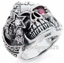 925 STERLING SILVER AAA Red CZ Ring Women Crown Pirate One Eye Skull Biker Punk