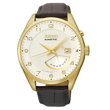 Seiko Kinetic SRN052 Mens Ivory Dial Brown Leather Gold Tone Day / Date Watch