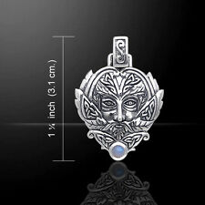 Green Man Rainbow Moonstone .925 Sterling Silver Pendant by Peter Stone