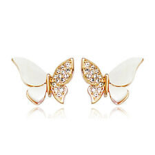 GORGEOUS 18K ROSE GOLD PLATED  GENUINE SWAROVSKI CRYSTAL BUTTERFLY  EARRINGS